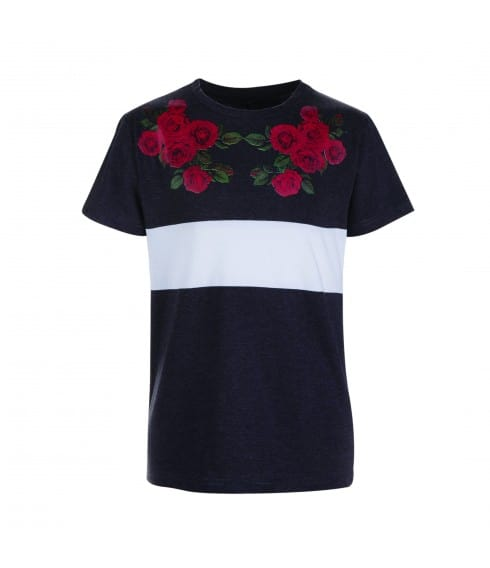 T-shirt anthracite brodé Roses