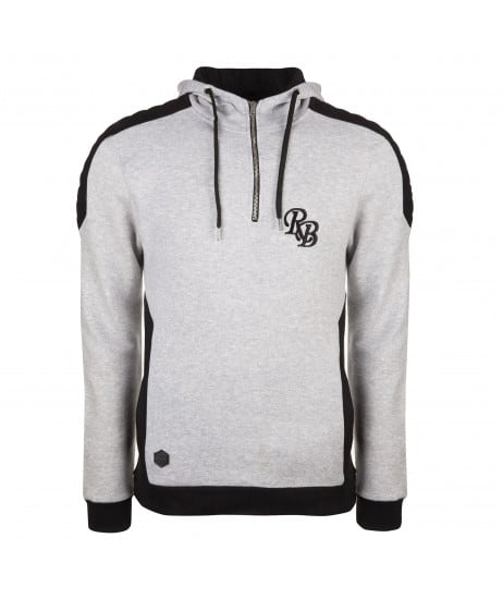 Sweat à capuche homme gris chiné